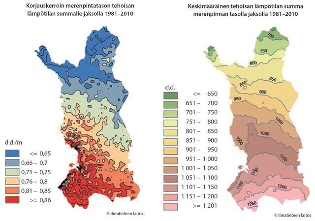 Lämpösummakartta Pohjois-Suomeen