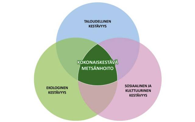 Kolme ympyrää: ekologinen kestävyys, sosiaalinen ja kulttuurinen kestävyys, ekonominen kestävyys. Päällekäin olevien ympyröiden leikkauspiste keskellä muodostaa kokonaiskestävän metsänhoidon.