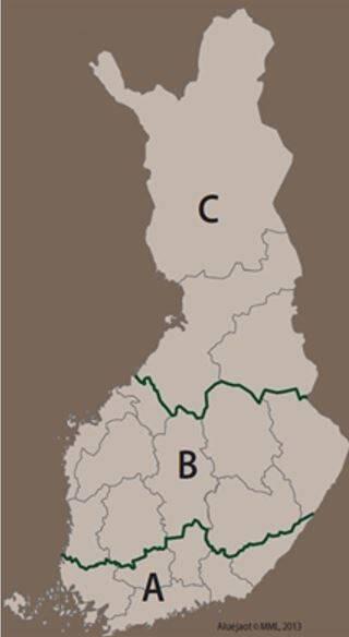 Lain mukainen aluejako hyönteistuhojen torjunnasta karttana