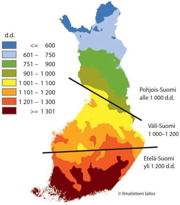 Lämpösummat ajanjaksolla 1981-2010 karttana