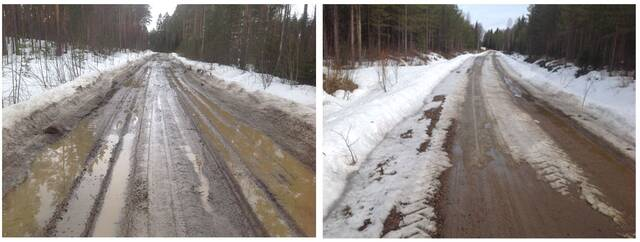 Kuvapari jossa oikean puoleisen kuvan sohjo-ojat ehkäisevät sulamisvesien virtaamista ajoradalle. Kuvapari on otettu samaan aikaan saman tien eri kohdista. Vasemmassa kuvassa sohjo-ojia ei ole tehty, oikeassa kuvassa on toimittu oikein.