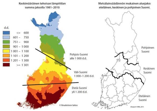 Koko Suomen lämpösummakartta ja aluejaot