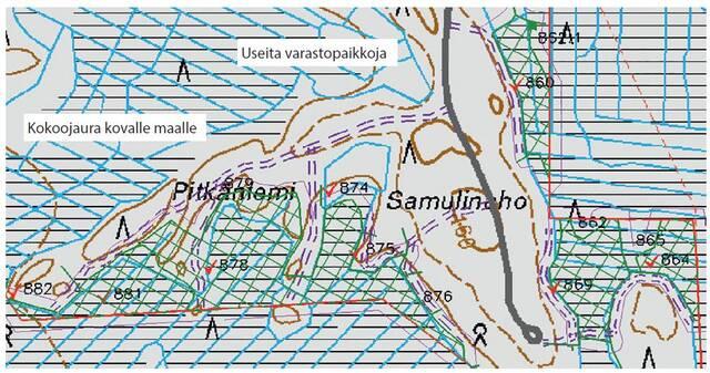 Esimerkkikartta, jossa sulan maan aikaan korjattava lohko