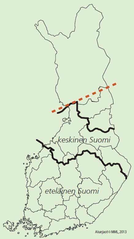 Kartta juurikäävän torjunta-alue