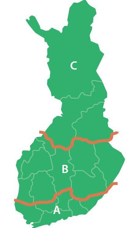 Kartta puutavaran poiskuljettamisen aluejaosta