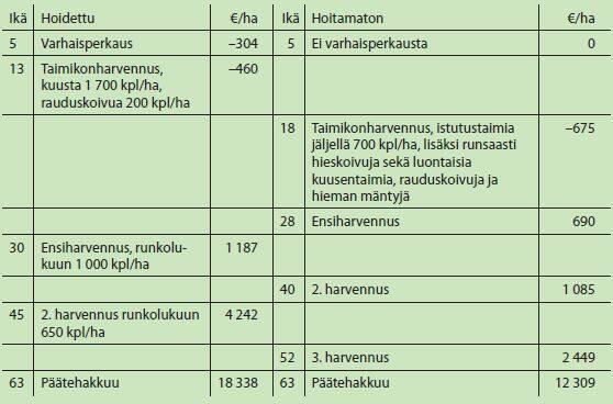 Taimikonhoidon kannattavuus taulukkona