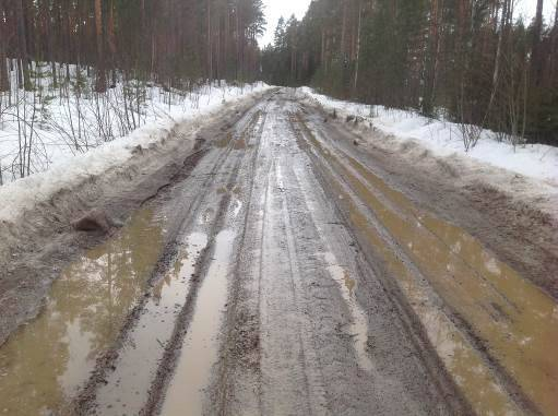 Metsätien pintakelirikkoa. Aurausvallit ja reunapalteet estävät sulamisveden poistumisen tien pinnalta, mikä pahentaa pintakelirikkoa.