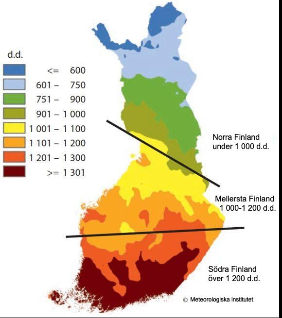Värmesummeområden i Finland